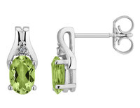 Peridot Stud Earrings with Diamonds 1.0 Carat (ctw