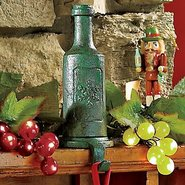 Cast Iron Wine Bottle Stocking Holder (Green)