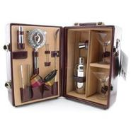 Deluxe Portable Travel Bar Set - Mahogany