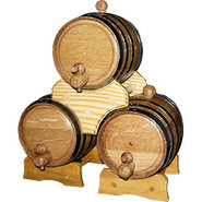 Oak Beverage Dispensing 3 Barrel Stacked Set
