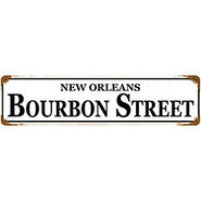 Vintage New Orleans Bourbon Street Metal Bar Sign