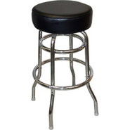 Round Top Black Bar Stool - Double Ring