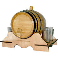 Oak Beverage Dispensing Barrel with 4 Shot Glasses