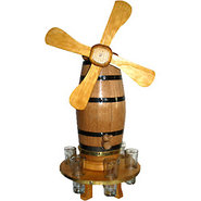 Oak Windmill Beverage Dispensing Barrel