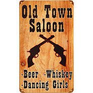 Vintage Old Town Saloon Metal Bar Sign