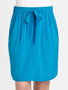 Stretch Silk Drawstring Skirt