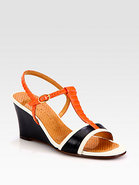 Anamari Leather & Snake-Print Patent Wedge Sandals