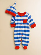 Infant's Two-Piece Striped Footie & Hat Set