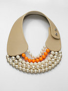 Leather and Bead Collar Necklace
