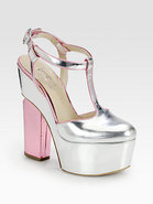 Metallic Leather T-Strap Mary Jane Platform Pumps