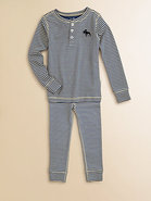 Toddler's & Little Boy's Striped Moose Pajama Set