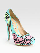 Satin Swirl Platform Pumps