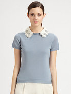 Lace Collar Knit Top