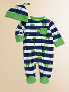 Infant's Frog Footie and Beanie Set