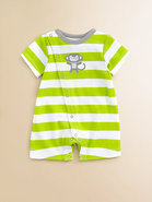 Infant's Monkey Striped Cotton Shortall