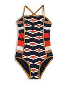 Girl's Hailey Striped Maillot