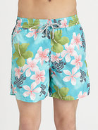 Turtle-Print Swim Trunks