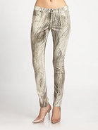 Feather-Print Skinny Jeans