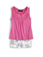 Toddler&#39;s &amp; Little Girl&#39;s Embroidered Bib Tank Top