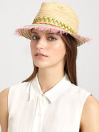 Peyote Feather-Trimmed Raffia Fedora
