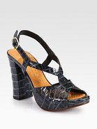 Citron Crocodile-Print Leather Sandals