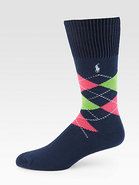 Cotton-Blend Argyle Socks