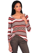 Lane Wide Scoop Raglan Top in Atomic Mix