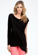 - Draped Asymmetric Top - Blk - Xxs