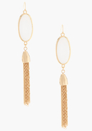 - Stone &amp; Tassel Earring - Gold - 1Sz