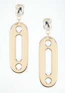 - Oversized Link &amp; Crystal Earring - Gold - 1Sz