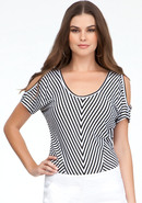 - Striped Cold Shoulder Knit Top - Black/White - X