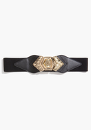 - Leatherette & Metal Stretch Belt - Black/Gold -