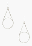 - Looped Teardrop Snake Chain Earring - Silver - 1