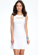 - Front Cutout Linen Dress - White - 10