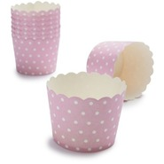 Paper Eskimo Pink and White Dot Baking Cups, Set o