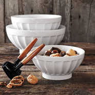 Blanc Ribbed Serving Bowl, 7 1/2 , White, 7.5