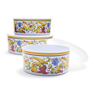 Floreale Melamine Prep and Serve Bowls with Lids,