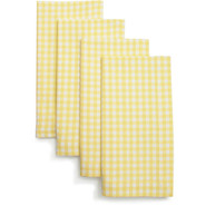 Yellow Gingham Napkins, Set of 4