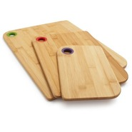 Bamboo Cutting Boards with Silicone Holes, Set of