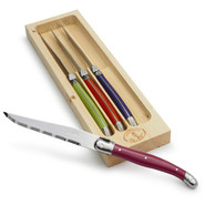 Laguiole Multi-Color Steak Knives, Set of 4