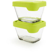 Rectangular Glass Storage Containers, Set of 2