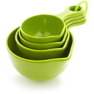 Set of Four Measuring Cups, Green