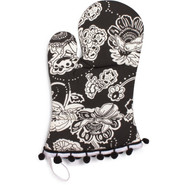 Black Retro Vintage-Inspired Oven Mitt