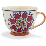 Red Floral Ceramic Cup, 12 oz.