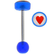 Blue RED HEART Logo Barbell Tongue Ring