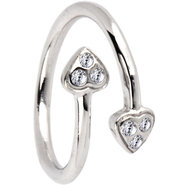 Sterling Silver 925 Cubic Zirconia PAVED HEART Toe