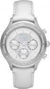 Chronograph White Dial Leather Ladies Watch NY8253