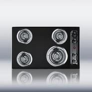 30  wide 220V electric cooktop in black porcelain