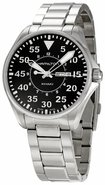 Mens Khaki Pilot Black Dial Stainless Steel H64611