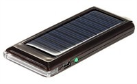 Black Mini Solar Charger With Backup Battery For C